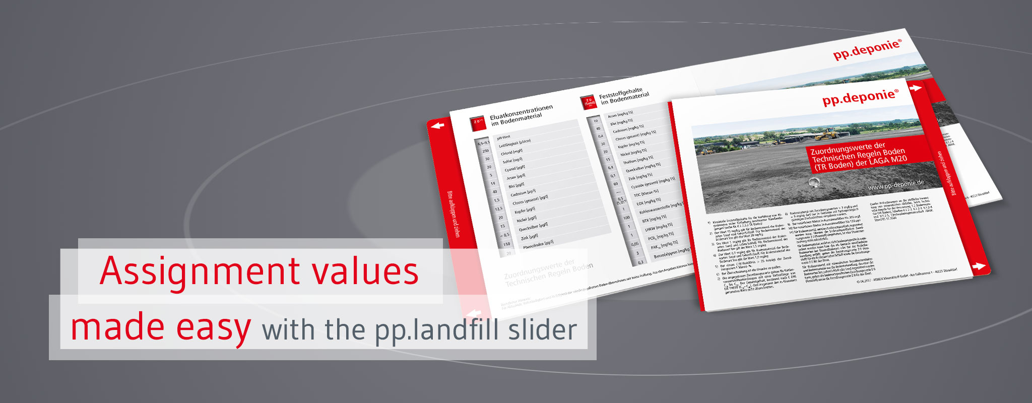 Assignment assignment values of the German Landfill Directive in the landfill slider